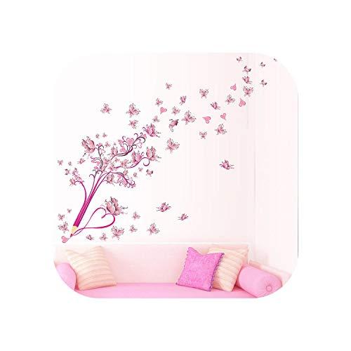 Fenster Wandaufkleber |Kreative Bleistift fliegende Schmetterlinge Blume Blumen PVC Wandaufkleber für Wohnzimmer Wohnkultur Diy Wandkunst abnehmbare Abziehbilder Geschenk-M0072-