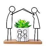 Herefun Macetas Decorativas, Macetas para Plantas Cactus Suculento Plantas, Flower Pot Blanca con Plato de Bambú, Macetas Interior Regalo Hogareña Jardin Boda Decorativos (Familia)