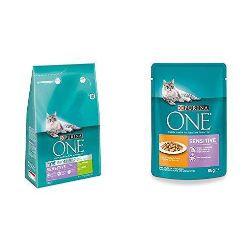Purina One Katzenfutter Trocken- und Nassfutter Mix-Pack (4 x 3kg und 24 x 85g) Sensitive Truthahn und Sensitive Huhn