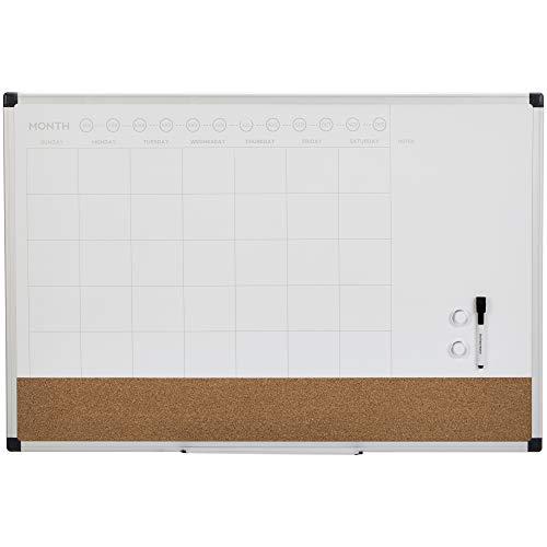 "Amazon Basics Dry Erase and Cork Calendar Planner Board, 24"" x 36"""