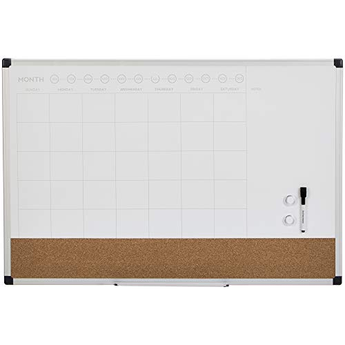 "AmazonBasics Dry Erase and Cork Calendar Planner Board, 24"" x 36"""