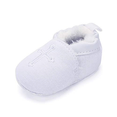 Baby Boys Girls Warm Boots Soft Sole Christening Baptism Church Cross Slipper Loafers Infant Crib Shoes, 0-3 Months