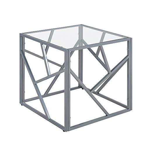 Quadratischer Beistelltisch industrielles Design Glas Silber Orland