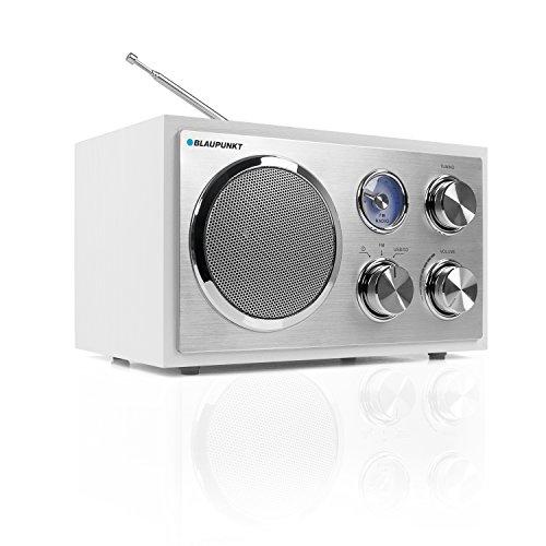 Blaupunkt RXN 19 WH Küchenradio, UKW/ FM Retroradio, kleines Radio fürs Badezimmer, USB-Port 2.0, SD Kartenleser, leichte Bedienung, Analog Tuner, einfaches Radio mit Kabel, Teleskopantenne, Weiß