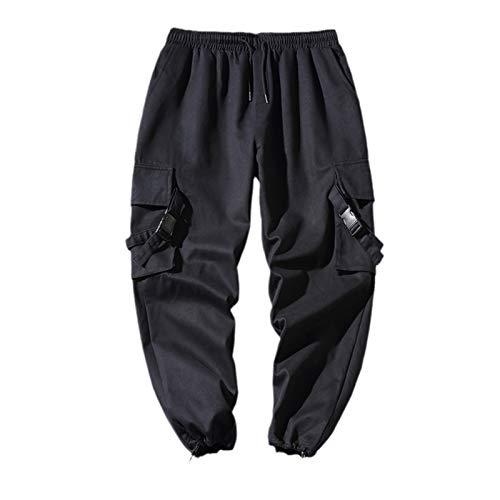 Autum Hip Hop Hombres Cintura elástica Harema Pantalón Calle Cotonera Hip Hop Pantalones Casuales Pantalones de Carga Masculinos Black Chinese Size XXL