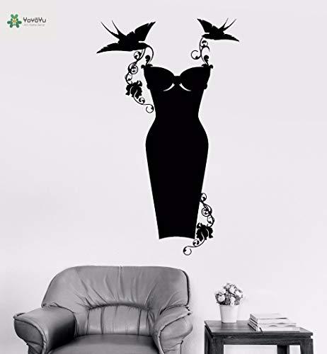 Vinyl muur sticker zwarte jurk mode fantasie vogel slepen bloemenmeisje kamer kunstenaar huisdecoratie sticker 85x142cm