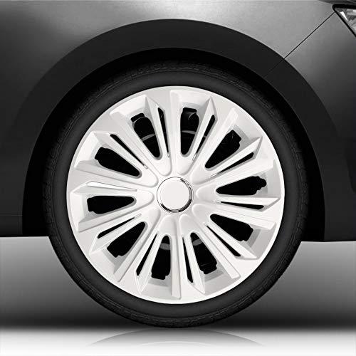 """Autoteppich Stylers 14\"""" 14 Zoll Radkappen/Radzierblenden 006 Weiss (Farbe Weiß), passend für Fast alle Fahrzeugtypen (universal)"""