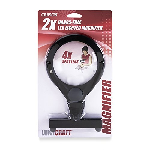 Carson LumiCraft LED Lighted Hands-Free 2x Magnifier with 4x...