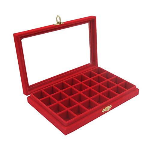 JIAAN Jewelry Storage Case 1 Pieces Jewelry Box Multi-Function Slot Velvet Glass Jewelry Box Organizer Case Tray Holder Earrings Storage Box (28 Slot),Jewelry Storage Box