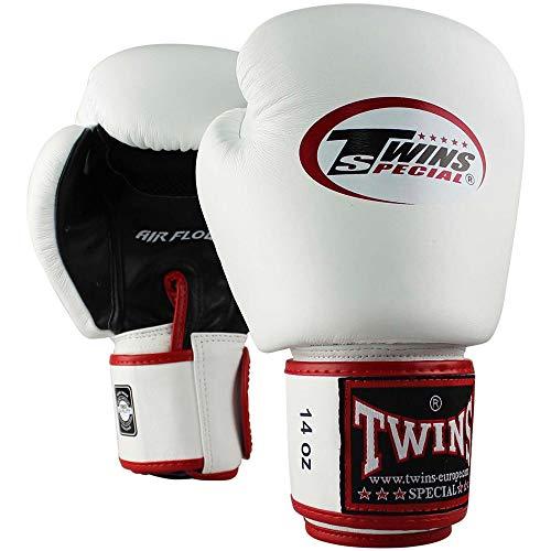 Twins Special Boxhandschuhe, Leder, AIR, weiß-schwarz Größe 14 Oz