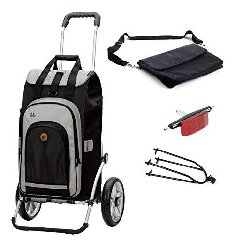 Andersen Einkaufstrolley Royal inkl Fahrrad-Anhängerkupplung und 62 Liter Einkaufstasche Hydro schwarz mit Kühlfach, extra Laptoptasche