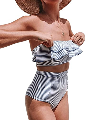 Adicloz Costumi da Bagno da Donna Bikini Ruffle Bandeau, Bikini a Righe Tinta Unita Halter, Bikini Donna Vita Alta, Bikini a Due Pezzi, Push Up Top High Waisted Bottom