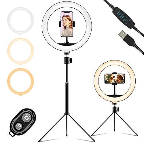 LIFEBEE Aro de Luz Trípode Fotografía, 10' Anillo de Luz Selfie con Control Remoto 120 LED 3 Modos Luz 10 Niveles Brillo para TikTok Youtube Instagram Vlog Vídeo Maquillaje Enseñanza para iOS Android