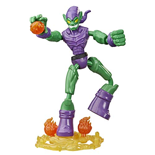 Spider-Man Marvel Bend and Flex Green Goblin Action Figure Toy, 6-Inch Flexible Figure, Includes Blast Accessories, for Kids Ages 4 and Up