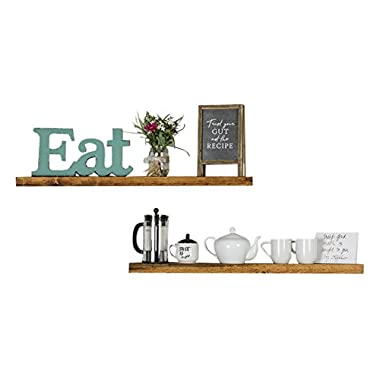 Floating Wall Shelves (Set of 2), Handmade Shelf Made of Rustic Pine by del Hutson Designs (2 x 36  x 5.5-Inch), Walnut Color