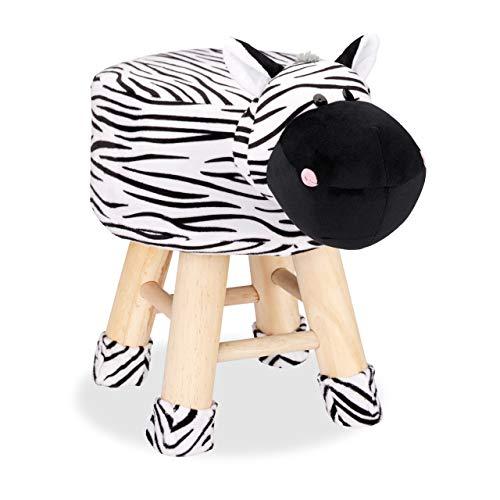 Relaxdays Taburete Infantil Animal Forma de Cebra con Funda Extraíble, Madera, Blanco y Negro, 34,5