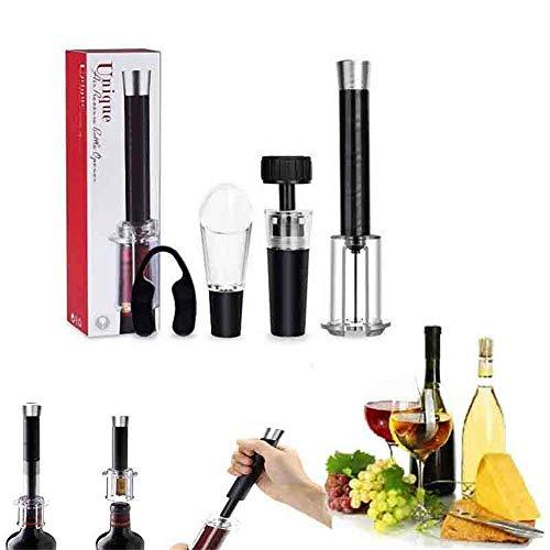 DWIN Sacacorchos de vino, 4 piezas de acero inoxidable, juego de regalo, con tapón de vino al vacío, picador