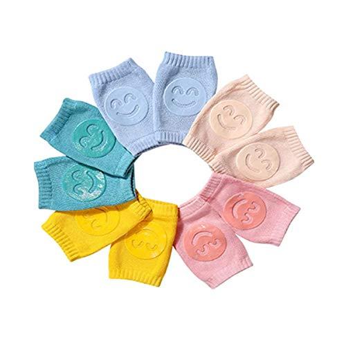 Danolt 5 pares Rodilleras para bebés, 95% algodón sonrisa Rodilleras Bebe, Antideslizantes Leg Warm Para niños pequeños, niños de 1 a 3 años