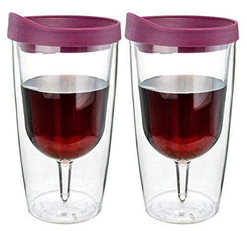 Southern Homewares Weinglas, doppelwandig, Acryl, mit Merlot-Rot, 284 ml, Merlot, acryl, merlot, 2er-Pack