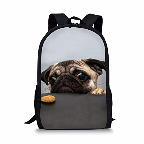 Showudesigns Grey Pug Backpack for Girls Teenager School Bag with Zipper Classic Middle Primary Backpack Boys Practical Casual Outdoor Travel Pack Bookabg Child
