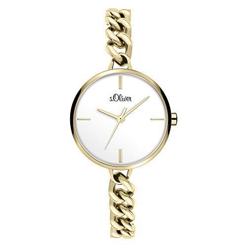 s.Oliver Damen Analog Quarz Uhr mit Edelstahl Armband SO-3987-MQ