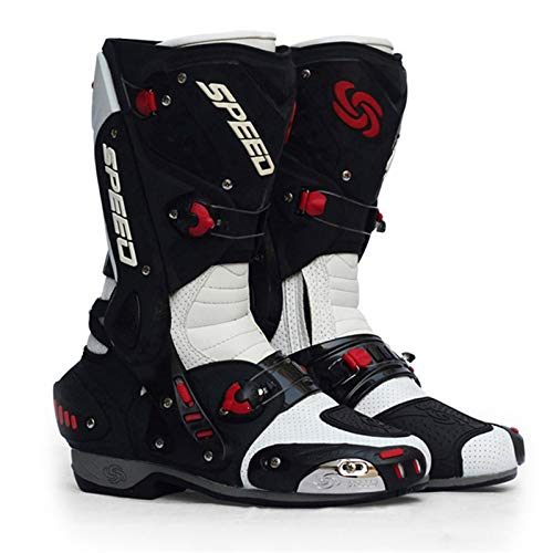 Sebasty Botas de Moto Hombre Moto Racing Motocross Moto Todoterreno Zapatos de Moto Botas Moto Botas de Montar,White-40