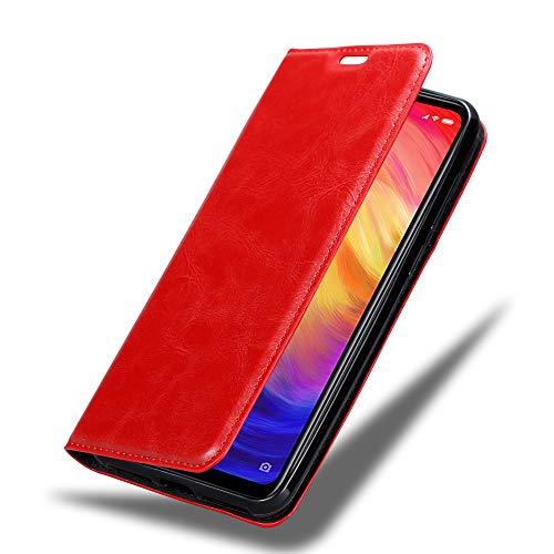 Cadorabo Hülle für Xiaomi RedMi Note 7 in Apfel ROT - Handyhülle mit Magnetverschluss, Standfunktion & Kartenfach - Hülle Cover Schutzhülle Etui Tasche Book Klapp Style