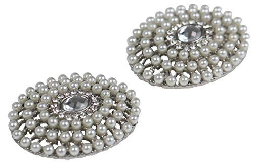 LOVE SHOES COMPANY Damen 2 Schuhclips weiß silber Strass Perle Schmuck-Accessoire für Schuhe Schuhschmuck Hochzeit Brautschuhe Braut Schmuck Party Ball