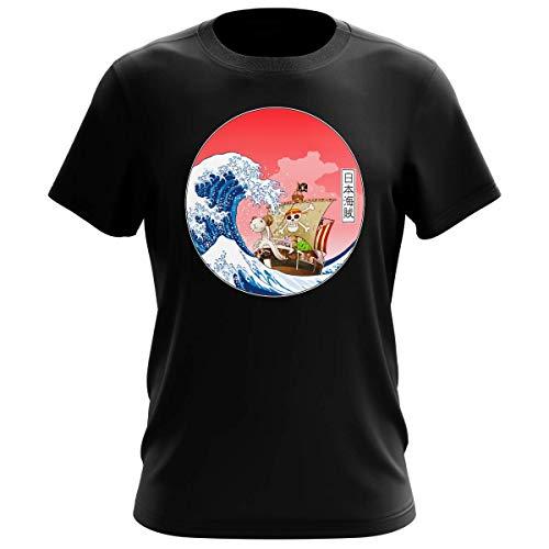 T-Shirt Homme Noir Parodie One Piece - La Grande Vague de Kanagawa et Le Vogue Merry - Pirates en mer du Japon. : (T-Shirt de qualité Premium de Taille L - imprimé en France)
