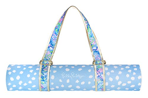 Lilly Pulitzer Women#039s Yoga Exercise/Fitness Mat with Travel Carrying Strap Blue and White Polka Dot Aqua La Vista