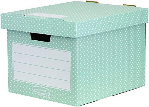 Fellowes Bankers Box Style - Caja de documentos, 4 unidades, color verde y blanco