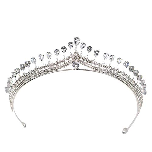 CHOUCHOU Halskette Ohrringe Schmuck Set Kette Charming Braut Kopfschmuck Silber Zirkon-Krone der Braut Brautkleid Kopfschmuck Haarschmuck Tiara-Haar-Band