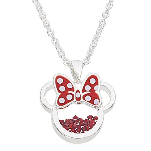 Disney Birthstone Women Jewelry Minnie Mouse Silver Plated July Ruby Red Cubic Zirconia Shaker Pendant Necklace, 18+2 Extender