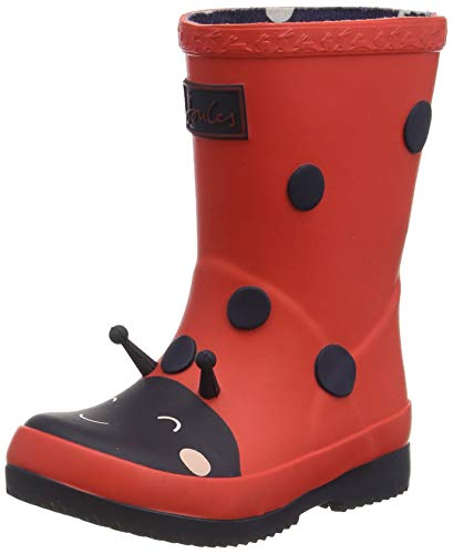 Joules Boy's Girl's Baby Welly Print Rain Boot, Red Ladybird, 7 UK Child