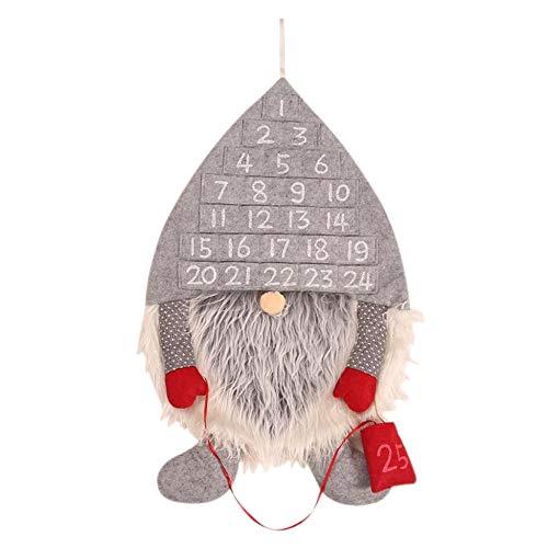 Nrpfell Calendario de Adviento de Navidad Hombre del Bosque Adornos Navide?Os VestíBulo Hogar Sala de Estar Puerta Pared Fiesta Colgante Decoraciones Gris