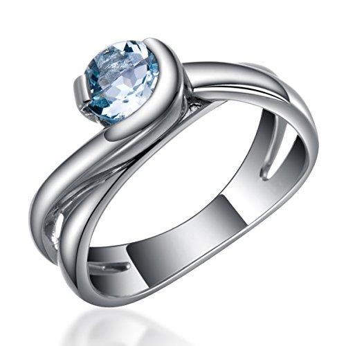 Hutang Jewelry-Ciondolo in argento Sterling 925, con acquamarina naturale, 6,0 mm, anello con solitario