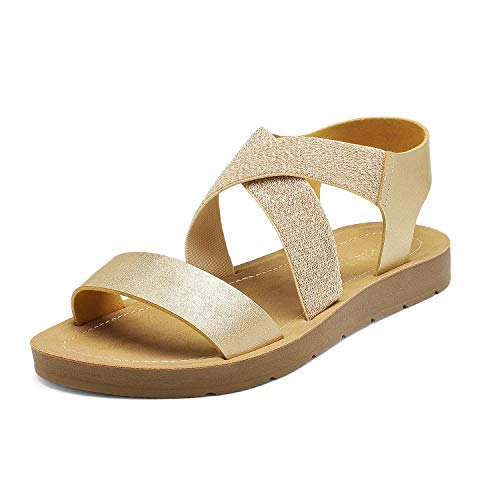 DREAM PAIRS Women's Gold Open Toe Elastic Ankle Strap Flat Summer Sandals 7 M US Elena-2