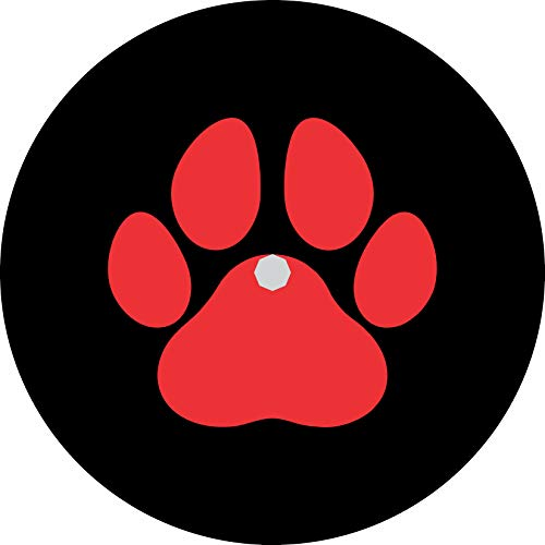 TIRE COVER CENTRAL Pet or Dog Paws red Spare Tire Cover fits Camper, Jeep, rv, Trailer, etc(Drop Down Size menu (285/70r17 Back up Camera Opening)