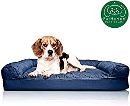 Furhaven Pet Dog Bed | Orthopedic Quilted Traditional Sofa-Style Living Room Couch Pet Bed w/ Removable Cover for Dogs & Cats, Navy, Medium