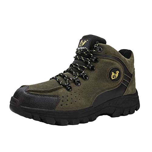 Mens Unisex Plus Cotton Solid Bottom High Help Hiking Shoes Waterproof And Breathable Trekking Boots Send Socks Army Green 10 Us