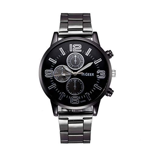 LABIUO Herrenuhr, Fashion Crystal Edelstahl Band Uhren Runde Analoge Quarz-Armbanduhr(Schwarz,Einheitsgröße)
