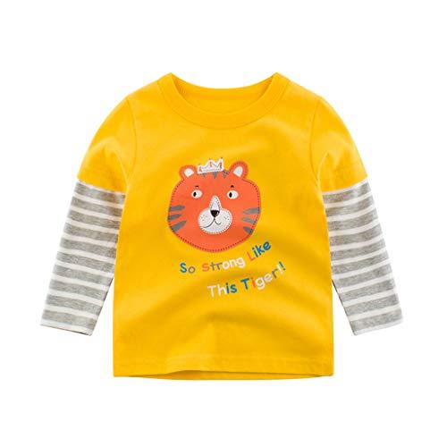 Pullover Sweatshirt Streifen Jungen Mädchen Baby Kinder Langarmshirts letter Cartoon Tier Drucken T-Shirt Kleinkind Herbst Winter Oberbekleidung Cute Tops Beiläufige 1-7 Jahre (Gelb,3-4 Jahre)
