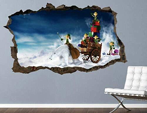 ioljk Pegatinas de Pared 3D Regalo del Carro de Navidad Vinilo del Arte de la Etiqueta engomada Personalizada del aplastamiento50x70cm