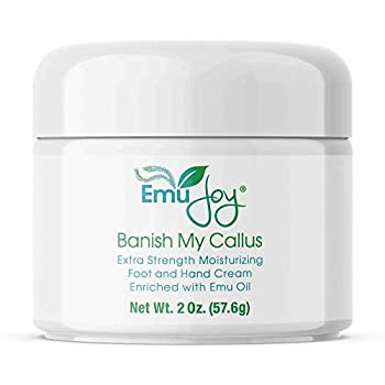 Emu Joy Banish My Callus Cream - Hand & Foot Callus Remover Cream Intensive Moisturizing Cream for Dry Heels and Soles No More Foot Scrubbers & Files Get Professional Salon Pedicure At Home  2 oz