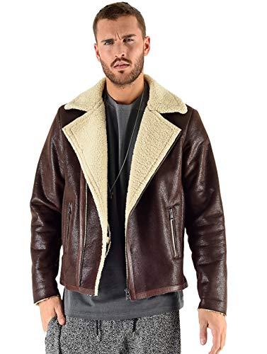 VSCT Clubwear Herren Winterjacken Sheepskin Biker Jacket braun M