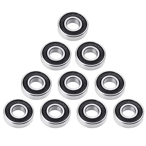 NATEE 10 Stück Kugellager 6001-2RS Double Shielded Miniatur Rillenkugellager für Motoren, Maschinen, Werkzeuge, Möbel, Sportgeräte, Roller, Spielzeug (12x28x8mm)