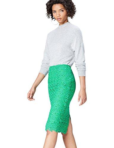 FIND Falda de Encaje por media Pierna para Mujer , Verde (Green), 44 (Talla del Fabricante: X-Large)