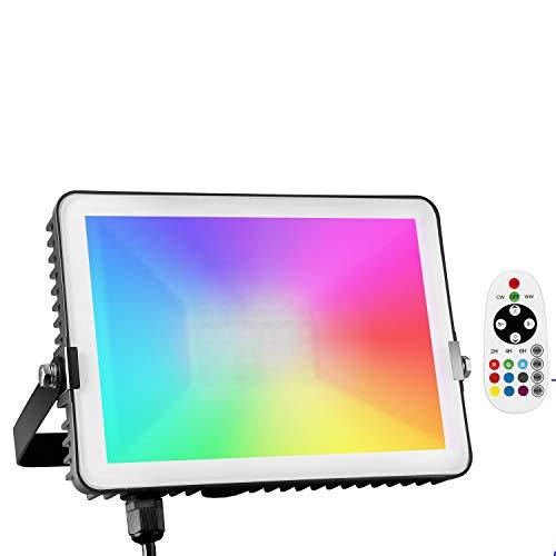 Albrillo RGB Strahler 30W - Dimmbar Außenstrahler mit Timer Funktion, Multi Farbwechsel & Lichtmodi auswählbar, Wasserdicht IP66 LED Fluter als Deko für Außen & Innen, 3M Kabel & 360° Fernbedienung