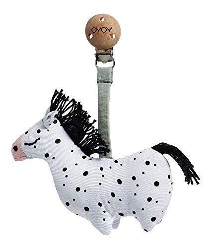 OYOY Mini Baby Kinderwagen Clip Pferd - Baby Spielzeug mit Holzclip als Kinderwagenanhänger aus Baumwolle