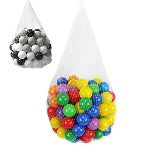 Monsieur Bébé ® Sac de 100 balles de jeu ou de piscine Ø 5,5 cm indéformables + Filet de rangement - Multicolore ou Noir, Gris, Blanc - Norme CE